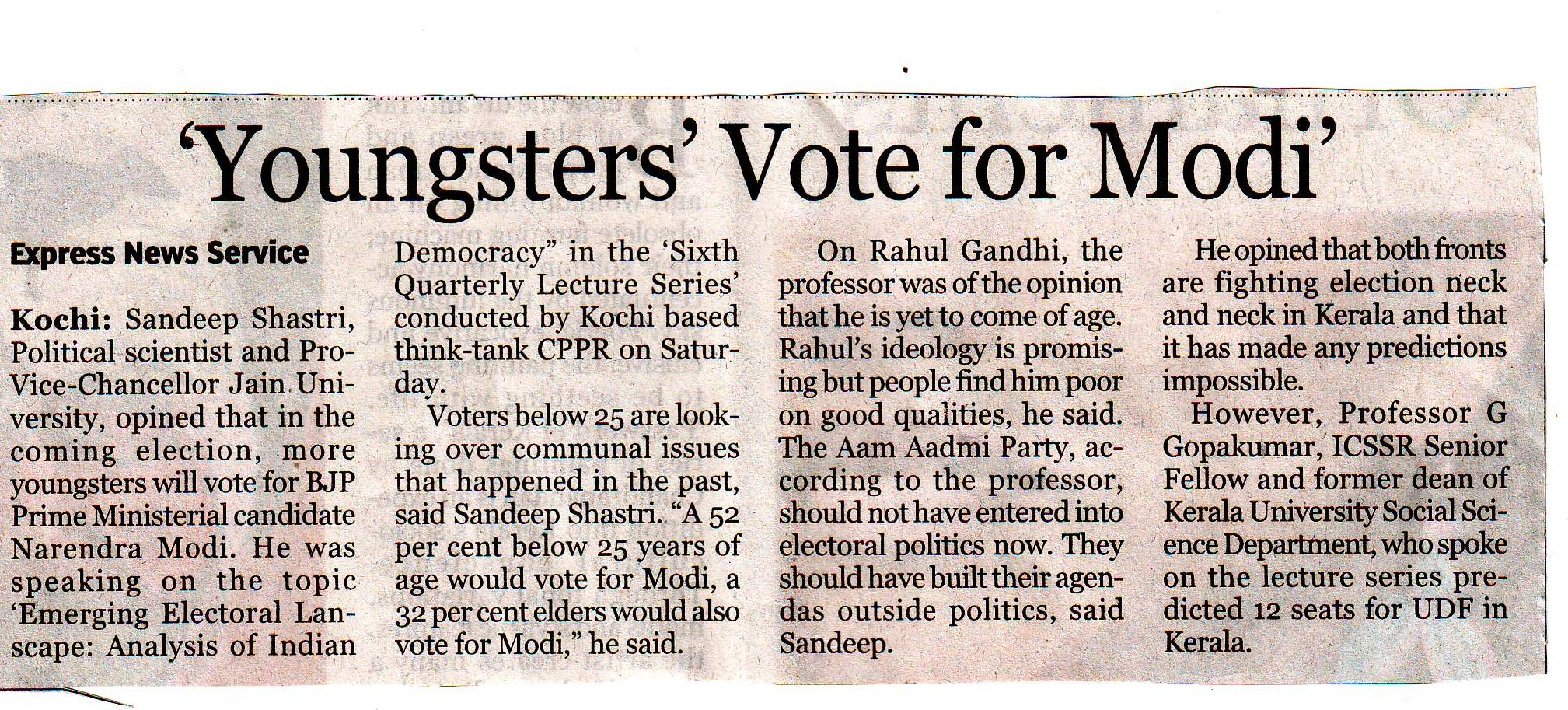 """Youngster's vote for Modi""  The New Indian Express"