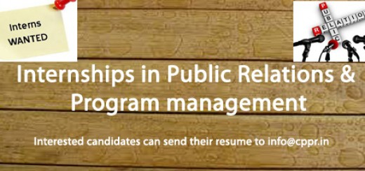 CPPR invites Internships in Public Relation and Program management