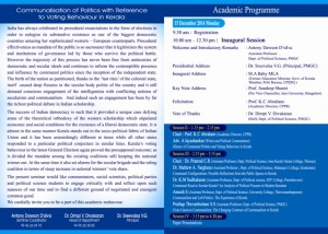 UGC National Seminar_ Communalisation of Politics- With Reference to Voting Behaviour in Kerala 1