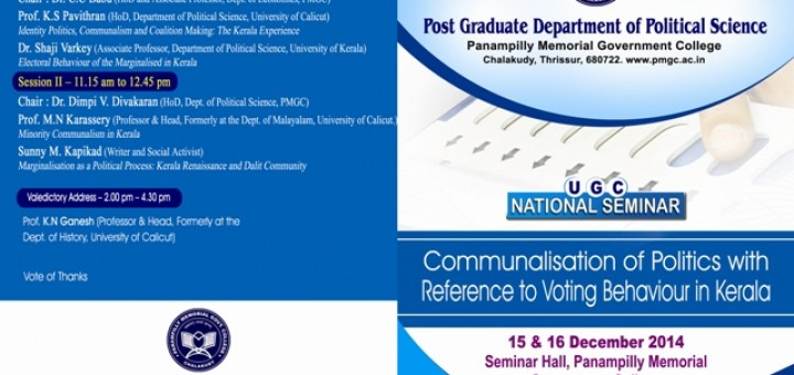 UGC National Seminar_ Communalisation of Politics- With Reference to Voting Behaviour in Kerala