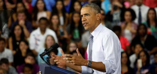 U.S. President Barack Obama speaks about the economy during a visit to Concord Community High School in Elkhart